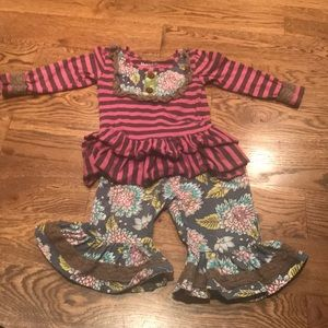 Mustard our purple striped and floral outfit